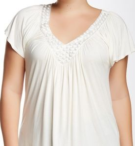 Soprano V-Neck Jeweled Casual Top Blouse 1X